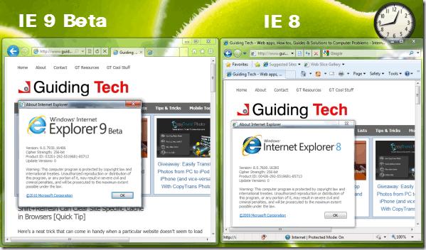 different internet explorer versions running together