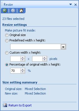 percentage size