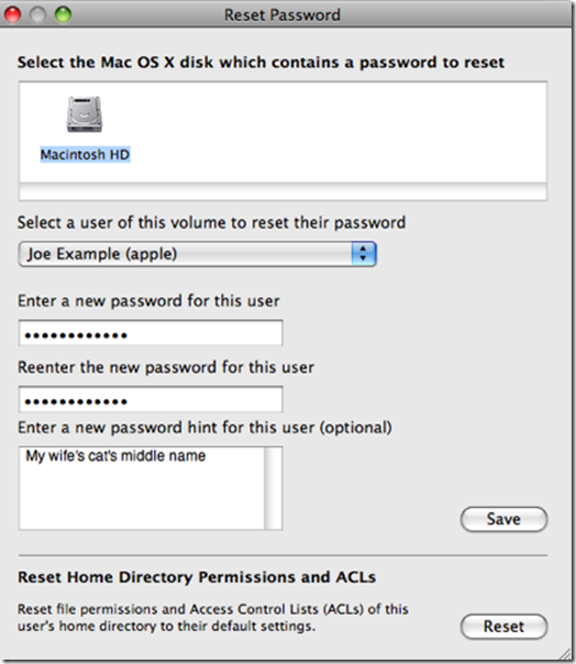 reset password early osx