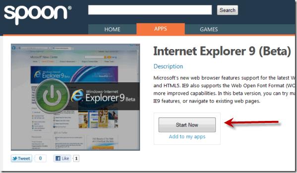 run internet explorer 9 beta